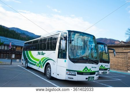 Shirakawa-go, Japan - November 15, 2018:nohi Bus In Shirakawa-go,japan.shirakawa-go Is World Heritag