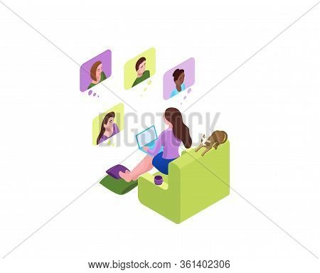 Girl Communicates With Colleagues, Collective Virtual Meeting Or Group Video Conference, Woman Chatt