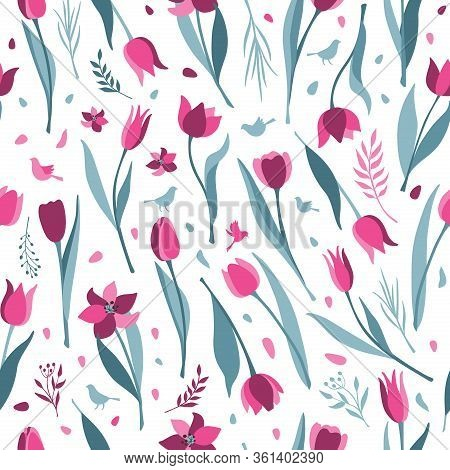 Tulip Vector Seamless Pattern On White Background. Tulips Flat Illustration Icon Of Tulip. 8 March D