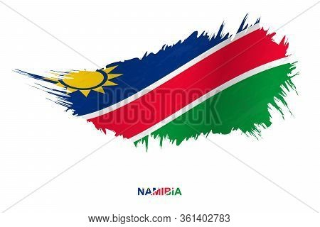Flag Of Namibia In Grunge Style With Waving Effect, Vector Grunge Brush Stroke Flag.