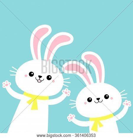 Two Bunny Rabbit Set Waving Paw Print Hand. Happy Easter. Cute Cartoon Kawaii Funny Baby Character.