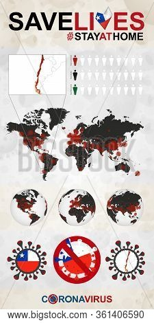 Infographic About Coronavirus In Chile - Stay At Home, Save Lives. Chile Flag And Map, World Map Wit