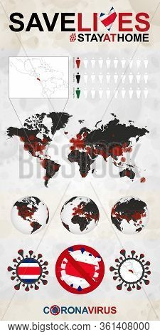 Infographic About Coronavirus In Costa Rica - Stay At Home, Save Lives. Costa Rica Flag And Map, Wor