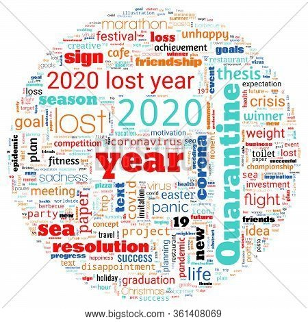 Word Cloud On Theme Lost Year 2020 In Round Shape On White Background. Abstract Concept Of Falling F