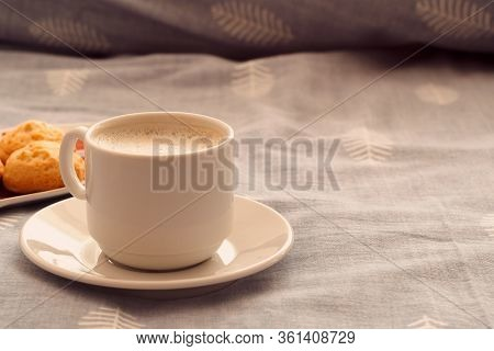 Morning Breakfast In Bed. A Cup Of Strong Coffee And Cookies On The Bed. Romantic Breakfast With You