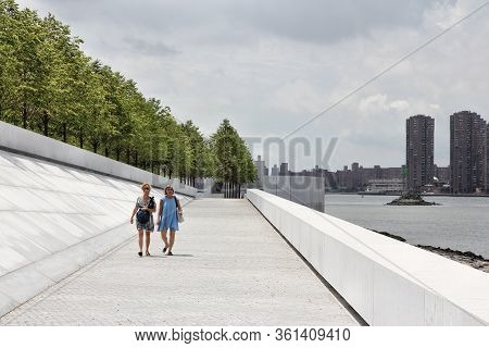 New York, Usa - July 3, 2013: People Visit Franklin D. Roosevelt Four Freedoms Park In New York. It