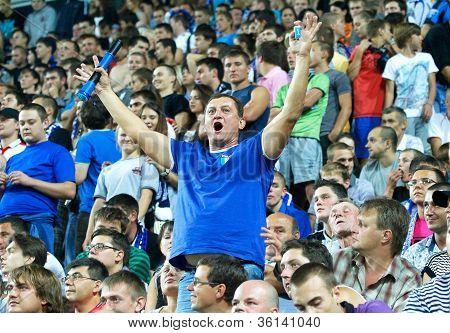 Odessa, Ukraine - August 19, 2012: Football Fans At The Match Between Shakhtar Donetsk And Chernomor