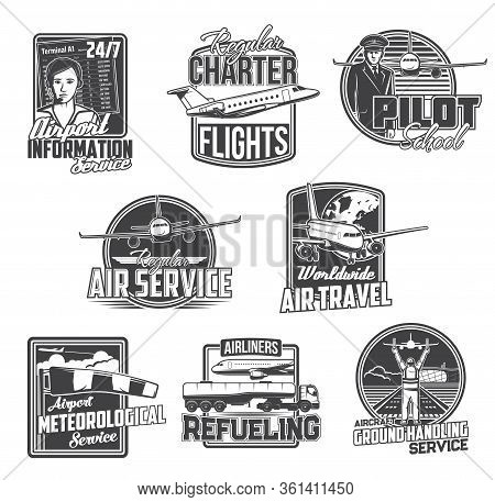 Airline And Airport Service, Civil Aviation Vector Icons. Pilot School And Private Jet Charter Fligh