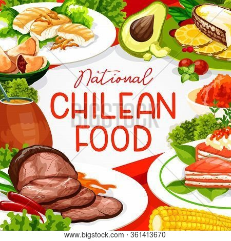 Chilean Cuisine Restaurant Menu Cover, South America Traditional Authentic Dishes. Pie With Salmon A
