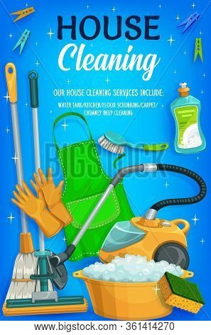 House Cleaning Service, Clear Shine Sparkles. Laundry, Mopping And Washing, Housemaid Sponges, Deter