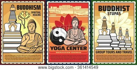 Buddhism Religion, Yoga Courses And Meditation Center, Vector Vintage Posters. Buddhism Spiritual He
