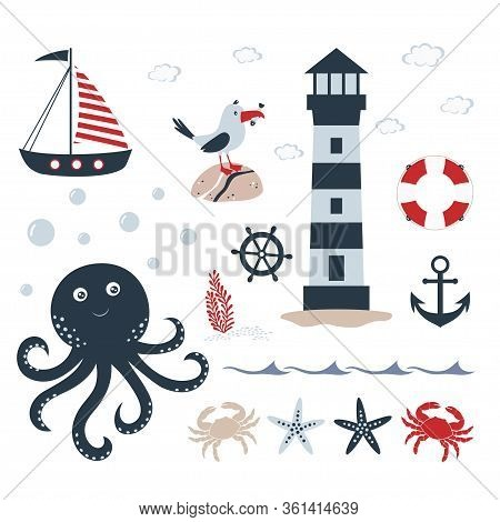 Sea Travel, Nautical Set With Anchor, Helm, Ship, Lighthouse, Crab, Starfish, Gull, Marine Themeof F
