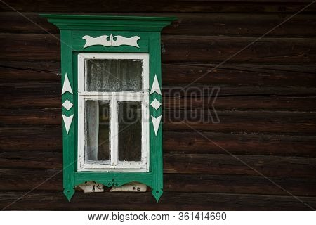 Window With Beautiful Fretted Wooden Case . Its A Traditional Decoration Of Old Russian Wooden House