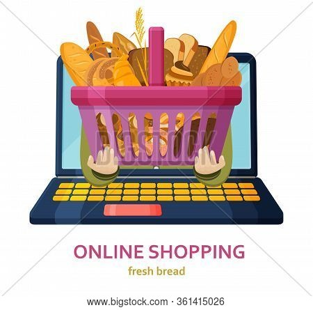 Shopping Online Banner. Bakery Products Background. Online Store Concept. Shopping Basket In Human H