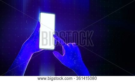 Blue Translucent Virtual Hands Using A Smartphone With A Blank Luminous Screen In Cyberspace. 3d Ren