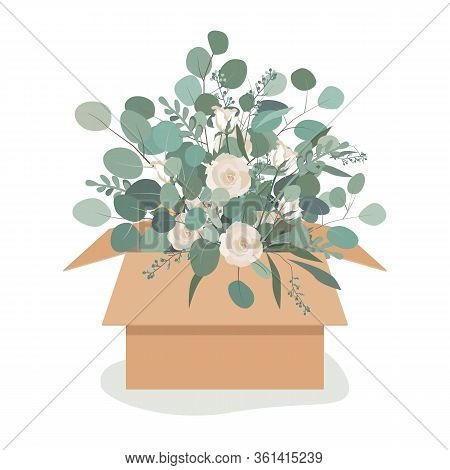 Beautiful Luxury Bouquet In A Craftboard Box. Roses Flowers, And Eucalyptus Branches. Vector Illustr