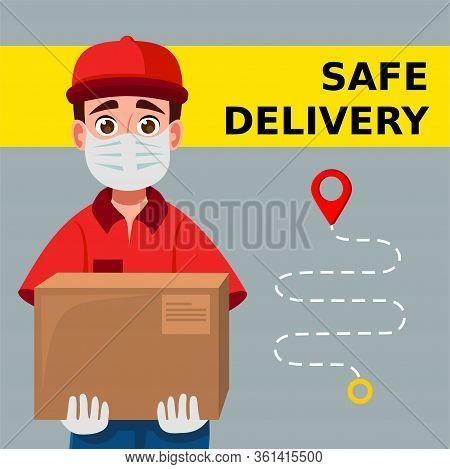 Delivery Man Holding Cardboard Boxes In Medical Rubber Gloves And Mask. Fast And Safe Delivery Trans