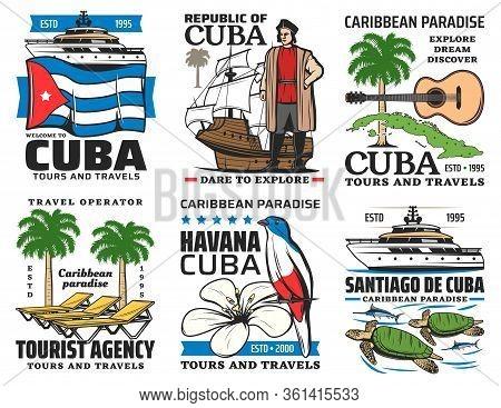 Cuba Travel Vector Icons. Havana Historic Culture Landmarks, Cuban Sightseeing, Caribbean Sea Boat T