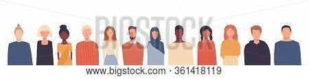 Vector Illustration In Flat Style. Global Society. People Of Different Nationalities, Cultures Isola