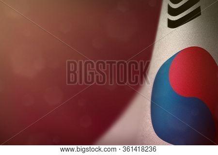 Republic Of Korea (south Korea) Hanging Flag For Honour Of Veterans Day Or Memorial Day On Red Dark