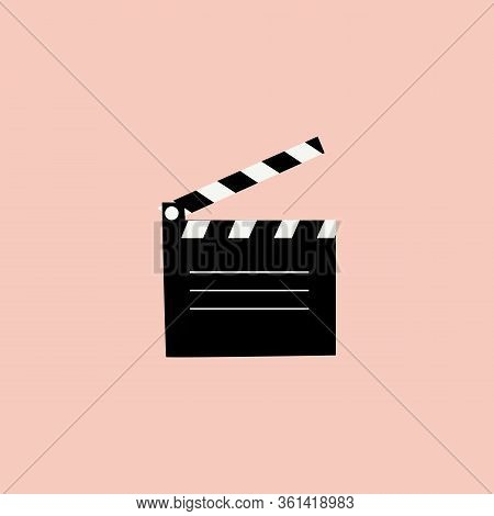 Clapperboard Vector Illustration Isolated On Blue Color Background, Flat Style Clapperboard Icon, Fi