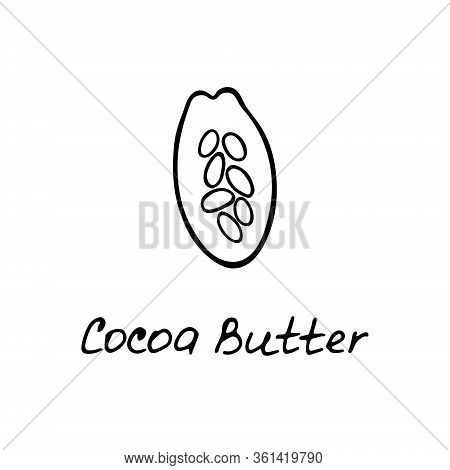 Cocoa Butter. Cosmetic Ingredient. Nutritional Oil For Skin Care. Hand-drawn Icon Of Cocoa Bean. Vec