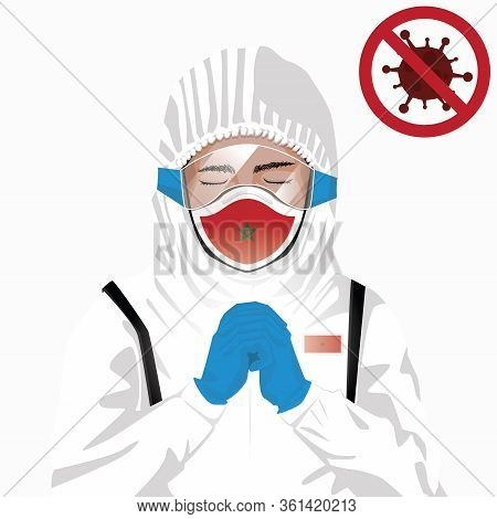 Covid-19 Or Coronavirus Concept. Moroccan Medical Staff Wearing Mask In Protective Clothing And Pray