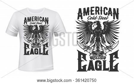 American Heraldic Eagle With Crossed Daggers. T-shirt Print Vector Black Mockup. Powerful Black Eagl