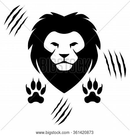 Lion Head And Traces - Brave Lion Icon -predatory Animals - King Of Beasts - Scratch Marks Icon