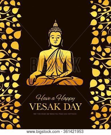 Gold Buddha In Meditation. Vesak Day Holiday Vector Poster. Buddha Sitting In Lotus Yoga Pose With B