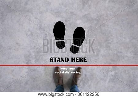 Stand Here Symbol On A Man Standing Behind The Red Line Background,concept Design For