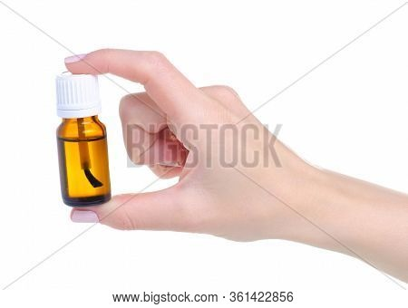Bottle Nail Oil Cuticle In Hand On White Background Isolation