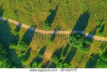 Aerial View Of The Krka River Canyon With A Trail For Hikers Located Downstream Of Bilusic Buk On Th