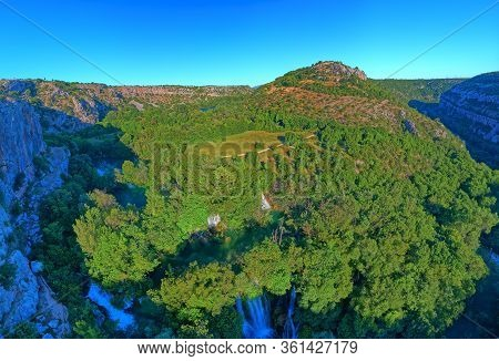 Aerial Stiched Panorama Of The Manojlovac Waterfall Located Downstream Of Brljan Lake In Canyon Of K