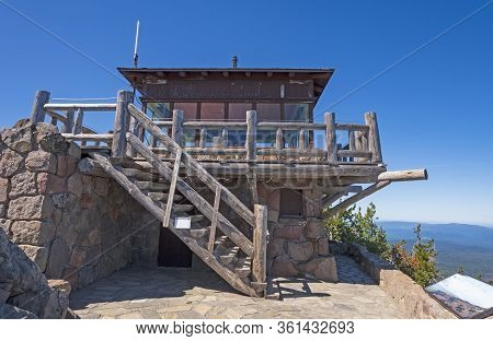 Lookout Tower On A Mountain Peak On The Watchman In Crater Lake National Park In Oregon