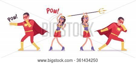 Male, Female Super Hero In Attractive Red Costume, Fighting Attack Pose. Effective Man, Woman Warrio