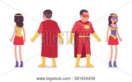 Male And Female Super Hero In Attractive Red Costume Standing. Effective Man, Woman Warrior With Sup