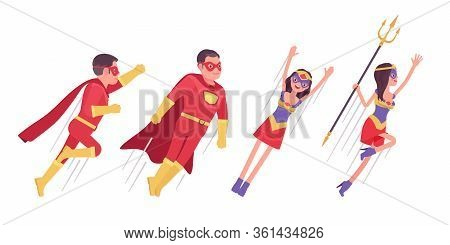Male, Female Super Hero Wearing Costume, Flying Up To Attack Or Protect. Effective Man, Woman Warrio