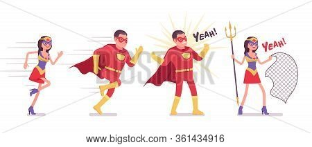 Male, Female Super Hero Wearing Costume, Running In Attack To Protect. Effective Man, Woman Warrior