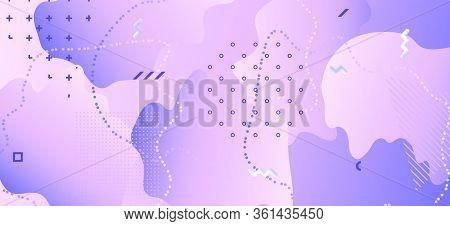 Pastel Purple Poster. Violet Memphis Pattern. Wave Motion. Contemporary Illustration. Gradient Creat