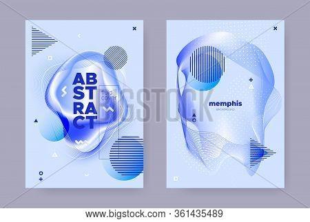 Pastel Hipster Memphis Background. Modern Fluid Shape. Liquid Cover. Vibrant Business Template. Abst