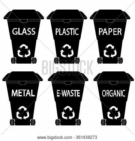 Waste Bin. Black Trashcan. Glyph Dustbin. Set Of Black Garbage Cans With Sorted Garbage On White Bac