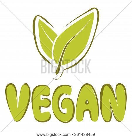 Green Vegan Icon. Symbol For Plant Products. Veganism Logo Or Symbol. Vegan Lifestyle Symbol Isolate