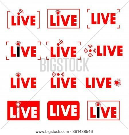 Live Stream. Live Broadcast. Video. Set Of Online Streaming Icons. Red Symbols And Buttons For Strea