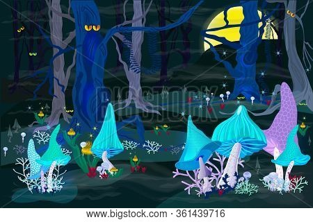 Phosphorizing Magic Mushrooms In A Fairy Forest. Full Moon In A Mystical Place. Scary Trees, Fog, An