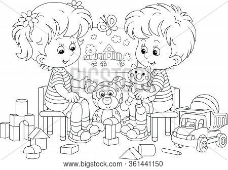 Cheerful Small Children Playing With Their Funny Toys In A Nursery Room, Black And White Outlined Ve
