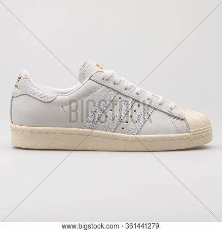 Vienna, Austria - August 24, 2017: Adidas Superstar 80s White Sneaker On White Background.