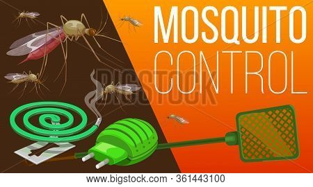 Mosquito Pest Control Home Insects And Health Protection Service, Vector Poster. Mosquito Fumigation