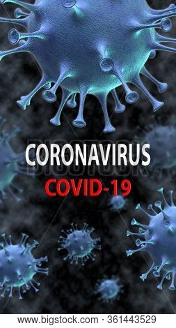 Corona Virus Disease Covid-19 Medical Web Banner With Sars-cov-2 Virus Molecule And Text On A Backgr