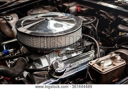 Turin, Italy - March 25, 2018: Engine Detail Of A 1980 Chevrolet Corvette L-82 On A Classic American